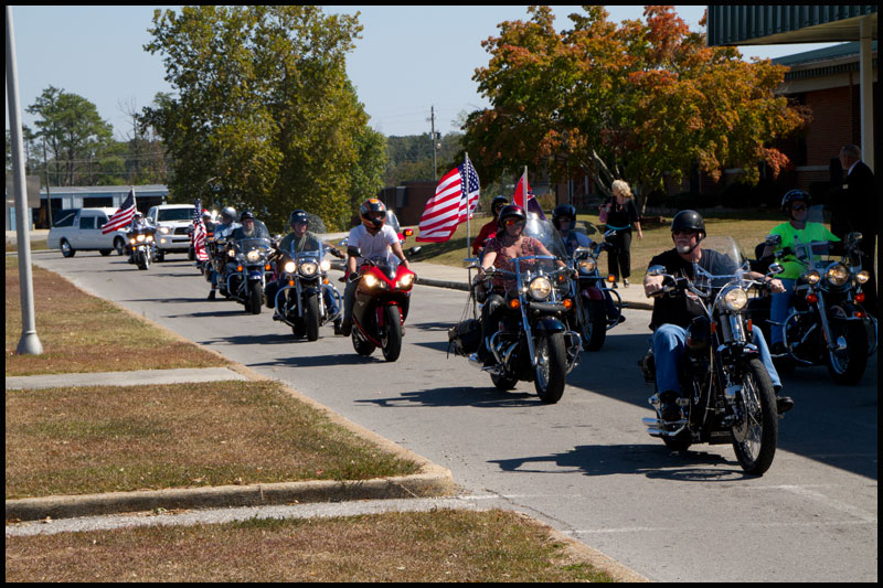 Patriot Guard Riders escorting Mark's body to funeral